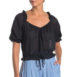 Free People Dorothy Black Striped Blouse